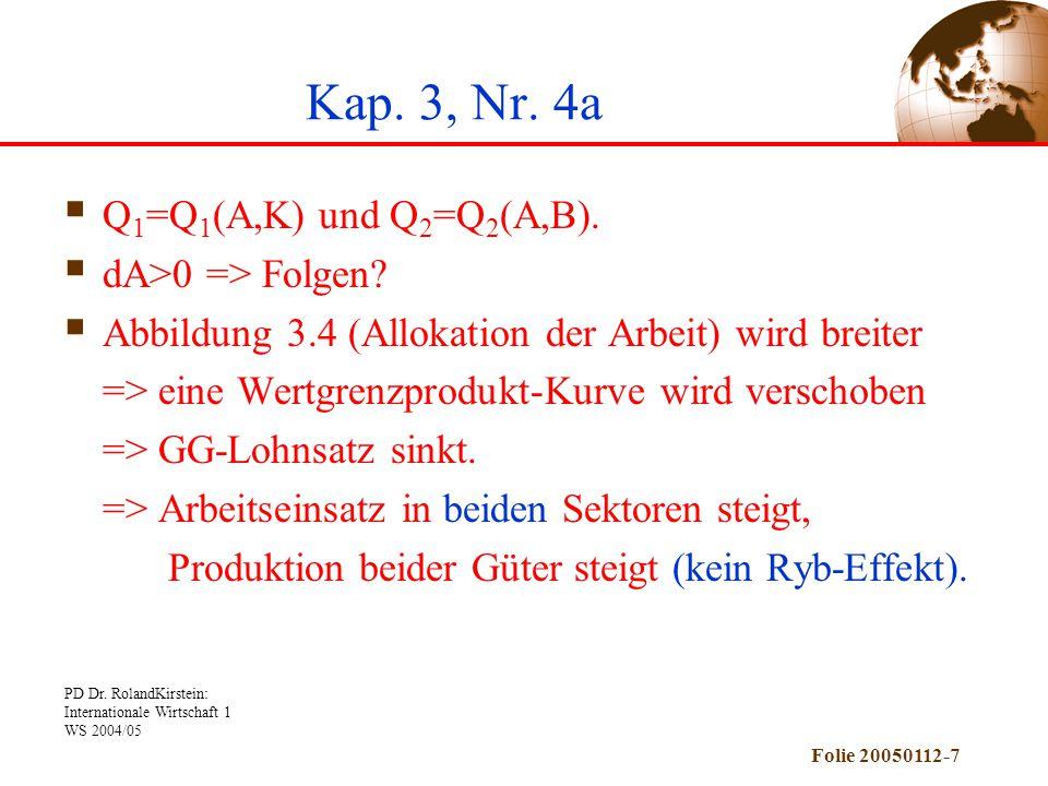 PD Dr. RolandKirstein: Internationale Wirtschaft 1 WS 2004/05 Folie 20050112-7 Kap. 3, Nr. 4a  Q 1 =Q 1 (A,K) und Q 2 =Q 2 (A,B).  dA>0 => Folgen? 