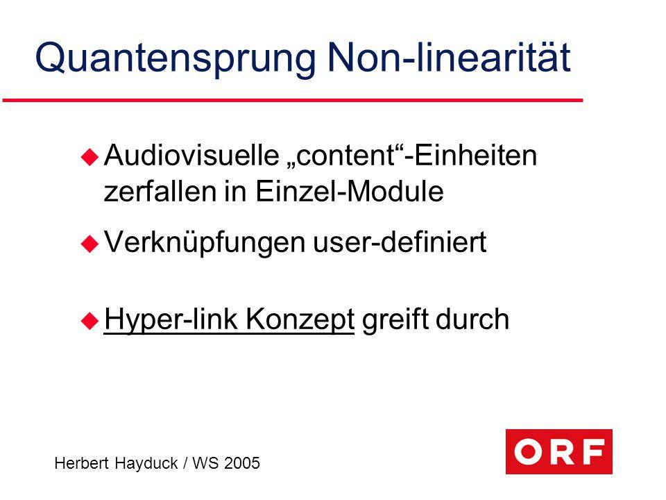 """Quantensprung Non-linearität u Audiovisuelle """"content""""-Einheiten zerfallen in Einzel-Module u Verknüpfungen user-definiert u Hyper-link Konzept greift"""