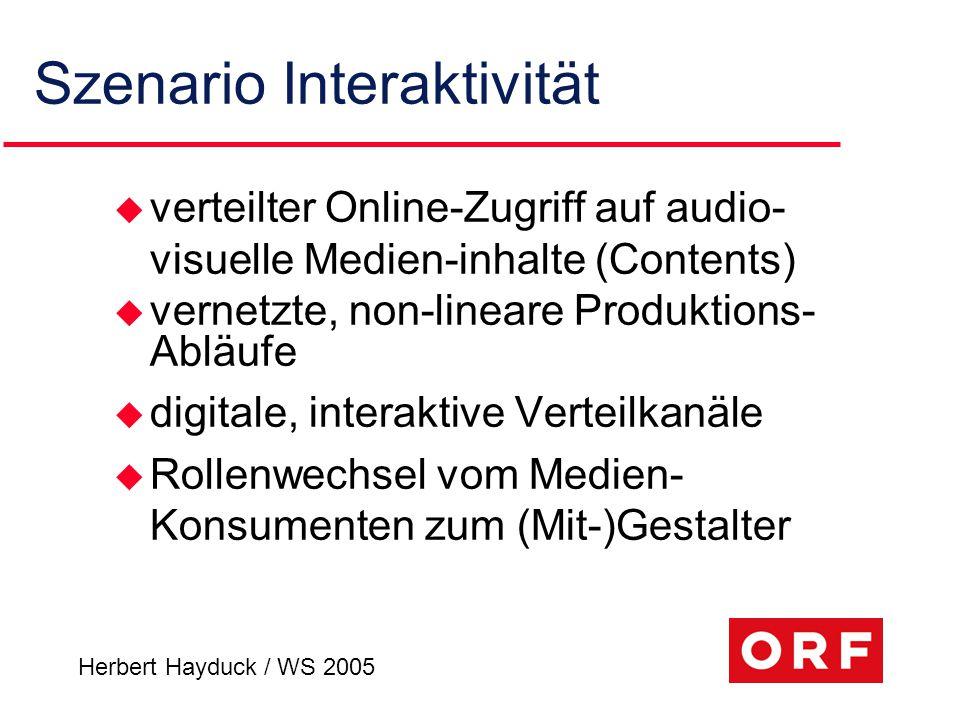 Herbert Hayduck / WS 2005 Szenario Interaktivität u verteilter Online-Zugriff auf audio- visuelle Medien-inhalte (Contents) u vernetzte, non-lineare P
