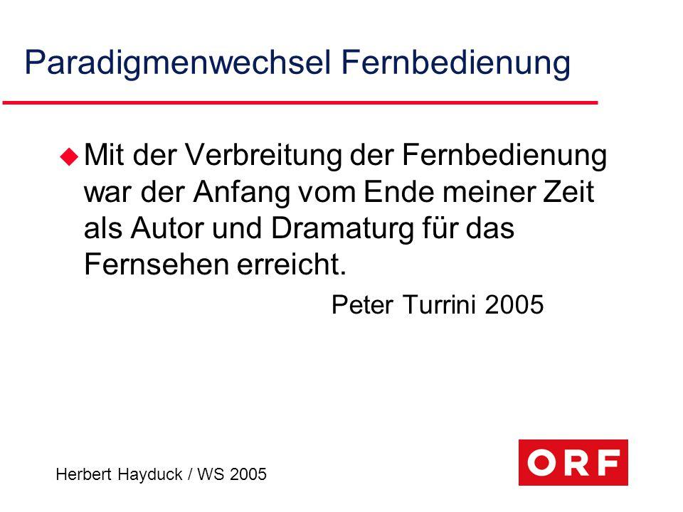 Herbert Hayduck / WS 2005 Paradigmenwechsel Fernbedienung u Mit der Verbreitung der Fernbedienung war der Anfang vom Ende meiner Zeit als Autor und Dr