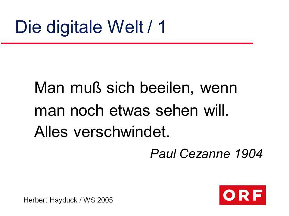 Herbert Hayduck / WS 2005 Szenario Interaktivität u verteilter Online-Zugriff auf audio- visuelle Medien-inhalte (Contents) u vernetzte, non-lineare Produktions- Abläufe u digitale, interaktive Verteilkanäle u Rollenwechsel vom Medien- Konsumenten zum (Mit-)Gestalter