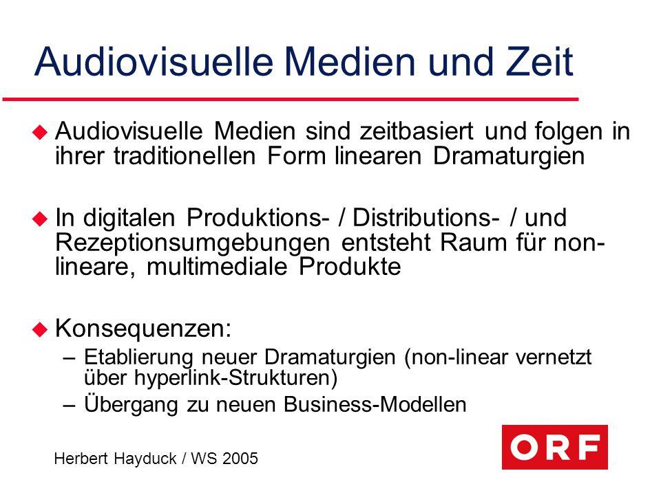 Herbert Hayduck / WS 2005 Audiovisuelle Medien und Zeit u Audiovisuelle Medien sind zeitbasiert und folgen in ihrer traditionellen Form linearen Drama