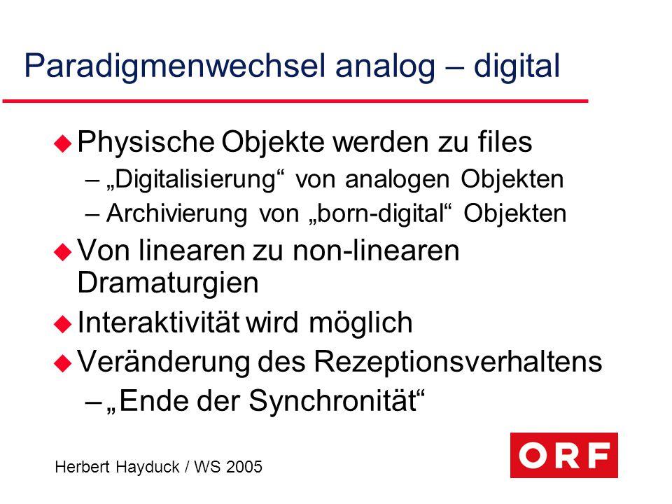 """Herbert Hayduck / WS 2005 Paradigmenwechsel analog – digital u Physische Objekte werden zu files –""""Digitalisierung"""" von analogen Objekten –Archivierun"""
