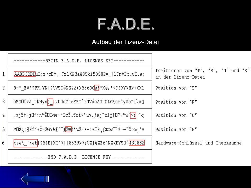 F.A.D.E. Aufbau der Lizenz-Datei