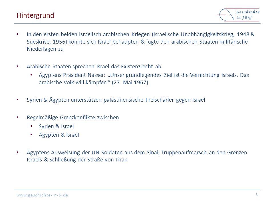 www.geschichte-in-5.de Hintergrund In den ersten beiden israelisch-arabischen Kriegen (Israelische Unabhängigkeitskrieg, 1948 & Sueskrise, 1956) konnt