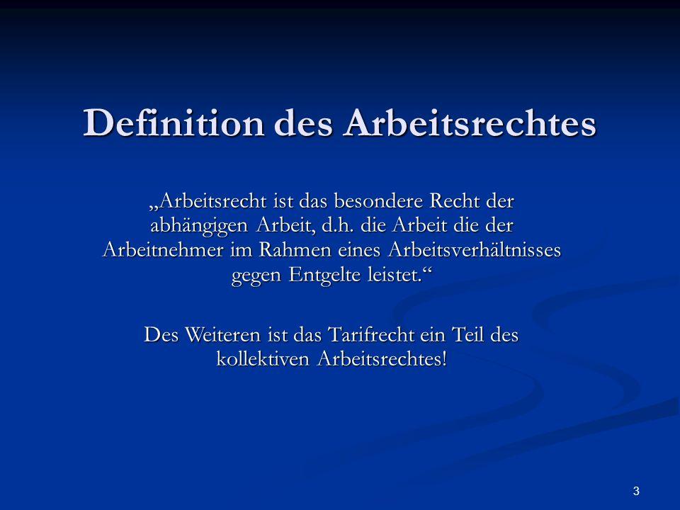 """3 Definition des Arbeitsrechtes """"Arbeitsrecht ist das besondere Recht der abhängigen Arbeit, d.h. die Arbeit die der Arbeitnehmer im Rahmen eines Arbe"""