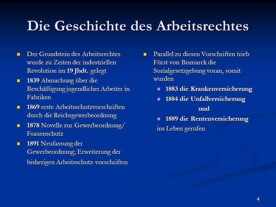4 Die Geschichte des Arbeitsrechtes Der Grundstein des Arbeitsrechtes wurde zu Zeiten der industriellen Revolution im 19 Jhdt. gelegt Der Grundstein d