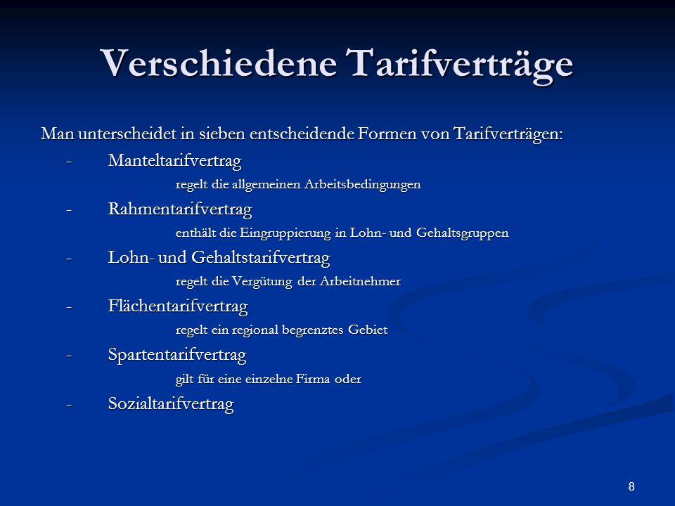 8 Verschiedene Tarifverträge Man unterscheidet in sieben entscheidende Formen von Tarifverträgen: -Manteltarifvertrag regelt die allgemeinen Arbeitsbe