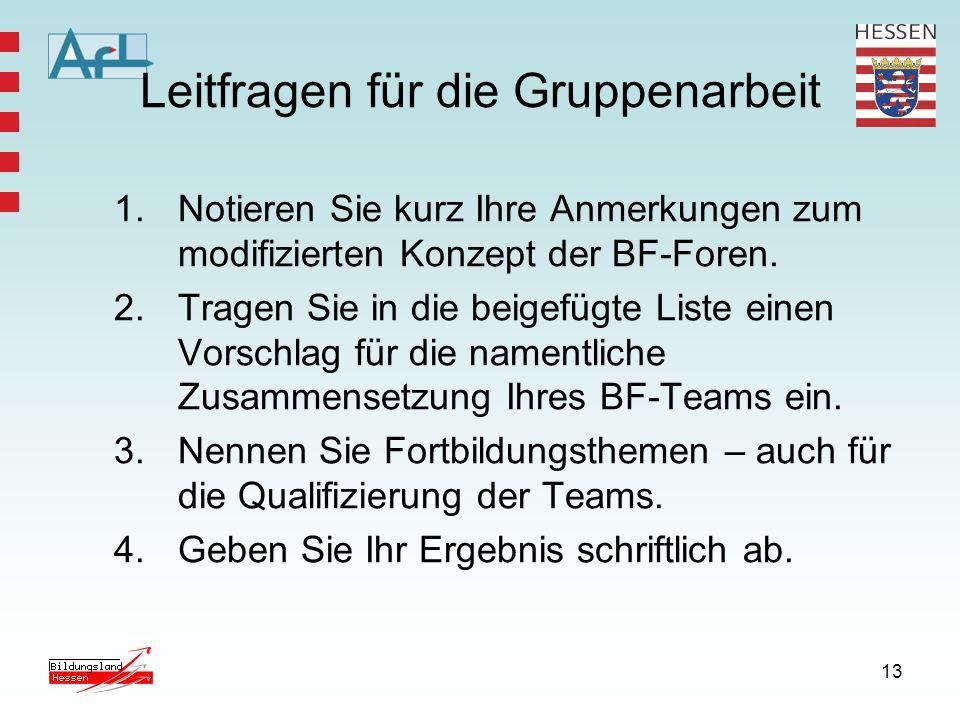 14 BF – Foren im Bildungsserver http://afl.bildung.hessen.de/projekte/berufsfeldforen/
