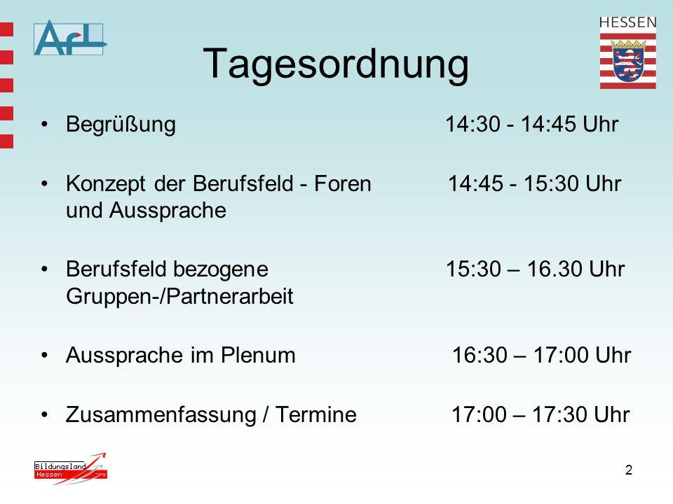 2 Tagesordnung Begrüßung 14:30 - 14:45 Uhr Konzept der Berufsfeld - Foren 14:45 - 15:30 Uhr und Aussprache Berufsfeld bezogene 15:30 – 16.30 Uhr Gruppen-/Partnerarbeit Aussprache im Plenum 16:30 – 17:00 Uhr Zusammenfassung / Termine 17:00 – 17:30 Uhr