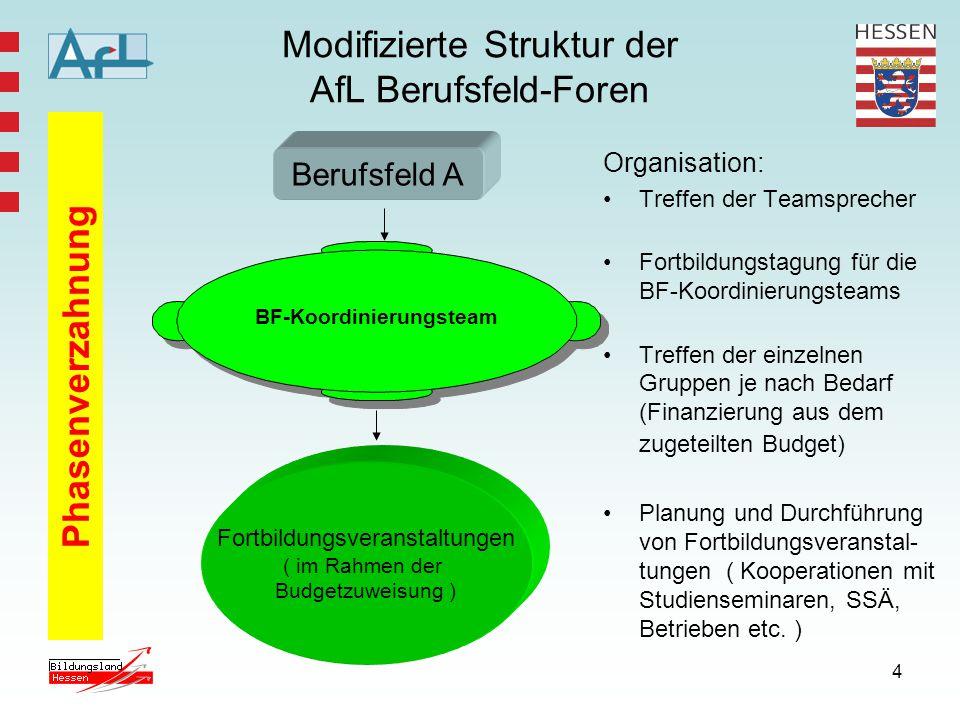 5 Zusammensetzung der BF-Teams Berufs- feld/- richtung Team- Sprecher HKM – Koor- dinator BF Koordinator bzw.