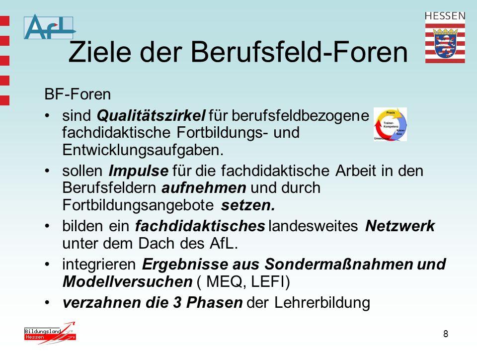 8 Ziele der Berufsfeld-Foren BF-Foren sind Qualitätszirkel für berufsfeldbezogene fachdidaktische Fortbildungs- und Entwicklungsaufgaben.