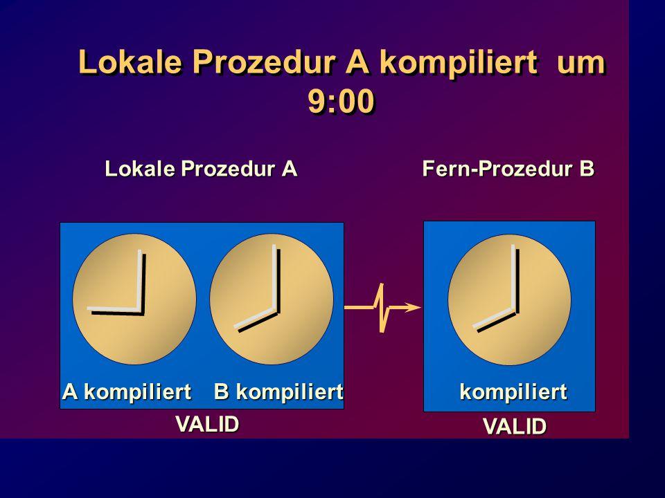 Lokale Prozedur A kompiliert um 9:00 Lokale Prozedur A VALID Fern-Prozedur B kompiliert VALID A kompiliert B kompiliert