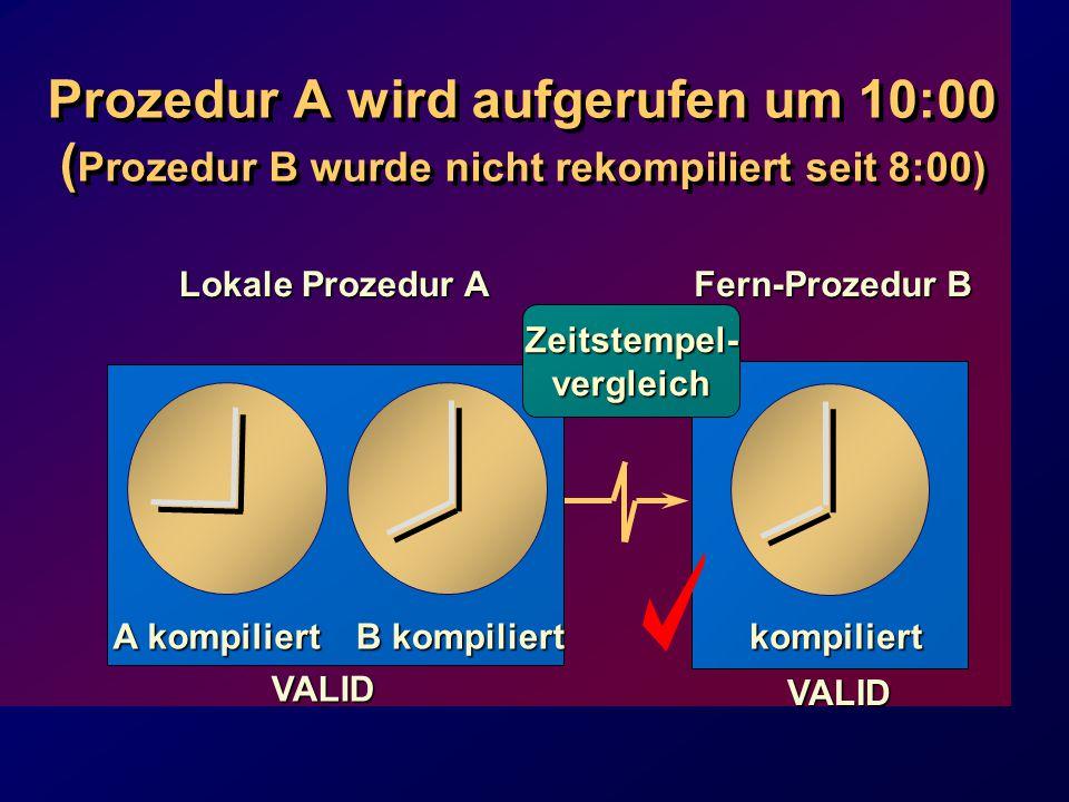 Prozedur A wird aufgerufen um 10:00 ( Prozedur B wurde nicht rekompiliert seit 8:00) Lokale Prozedur A VALID Fern-Prozedur B kompiliert VALID A kompiliert B kompiliert Zeitstempel-vergleich