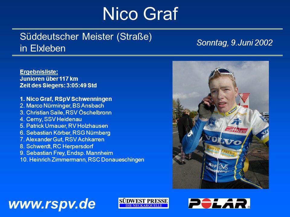 Nico Graf Süddeutscher Meister (Straße) in Elxleben Sonntag, 9.Juni 2002 Ergebnisliste: Junioren über 117 km Zeit des Siegers: 3:05:49 Std 1.