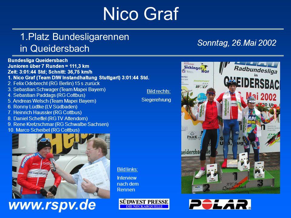 Nico Graf 1.Platz Bundesligarennen in Queidersbach Sonntag, 26.Mai 2002 www.rspv.de Bundesliga Queidersbach Junioren über 7 Runden = 111,3 km Zeit: 3:01:44 Std; Schnitt: 36,75 km/h 1.