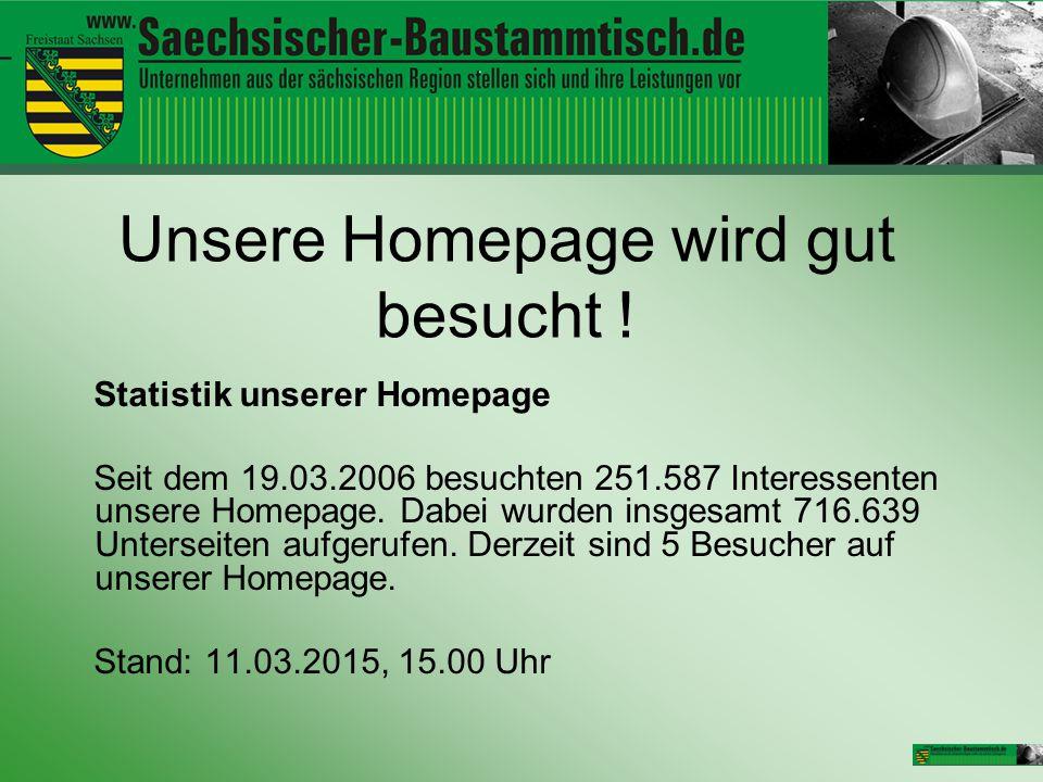Unsere Homepage wird gut besucht ! Statistik unserer Homepage Seit dem 19.03.2006 besuchten 251.587 Interessenten unsere Homepage. Dabei wurden insges