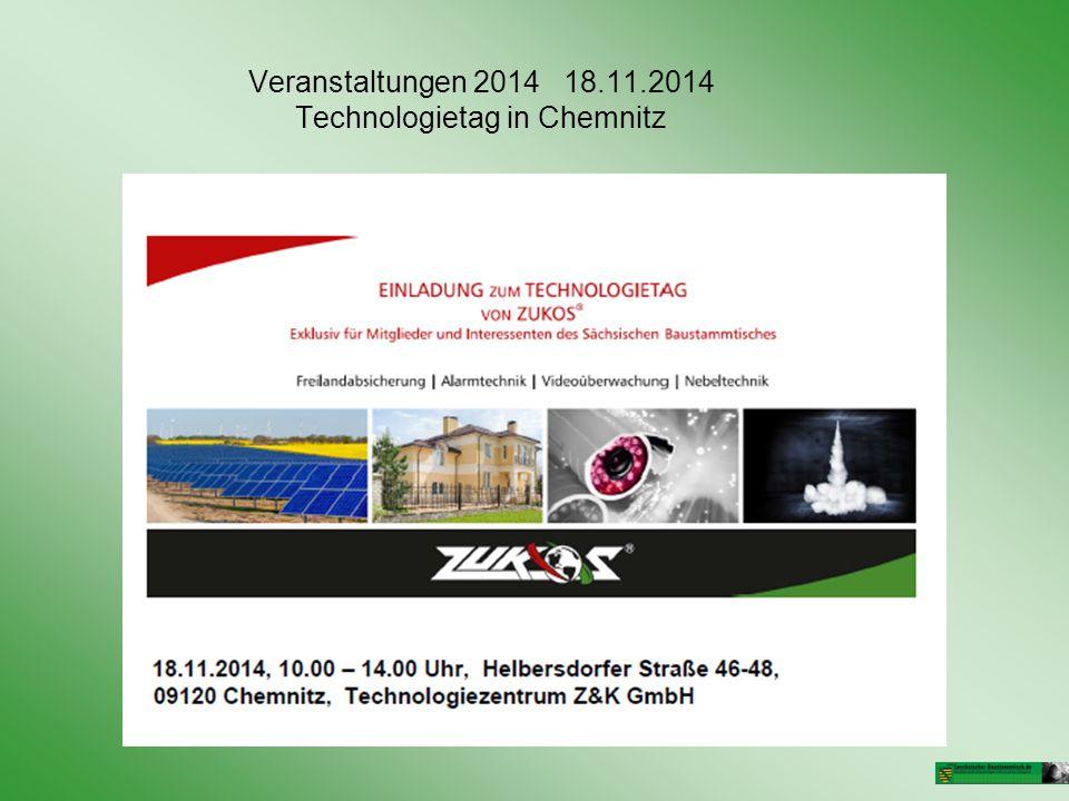 Veranstaltungen 2014 18.11.2014 Technologietag in Chemnitz
