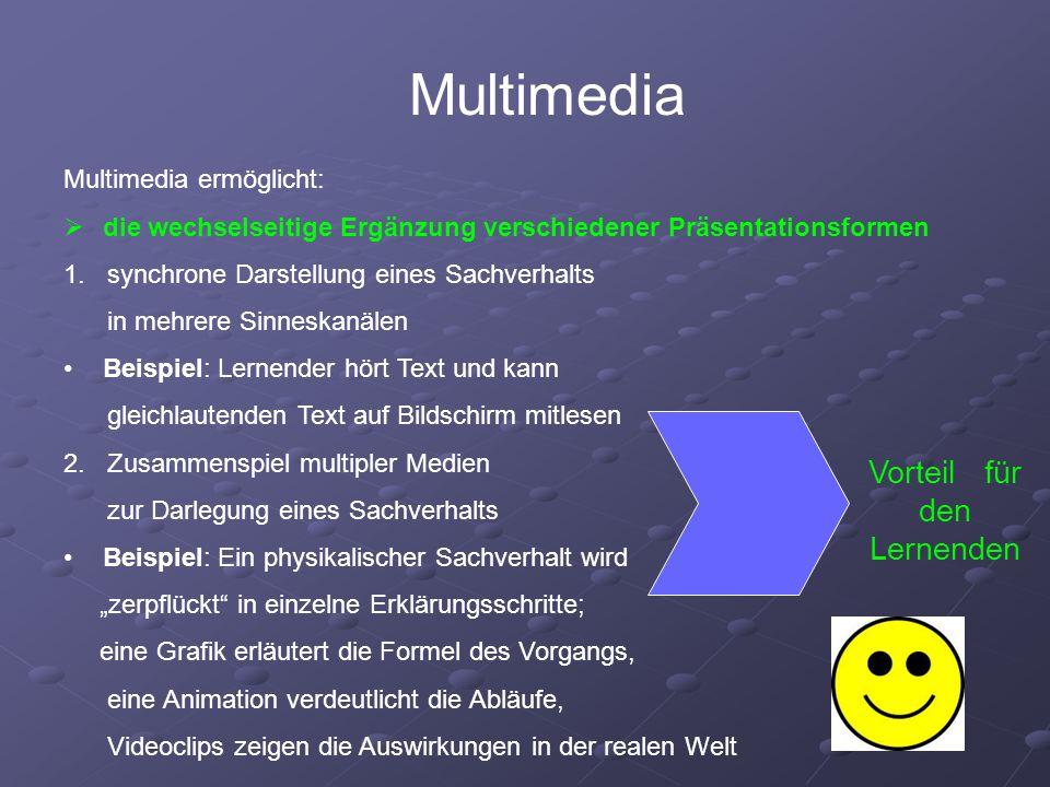 Multimedia ermöglicht:  die wechselseitige Ergänzung verschiedener Präsentationsformen 1.