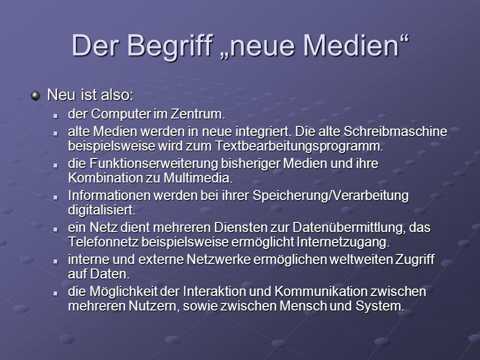 """Der Begriff """"neue Medien Neu ist also: der Computer im Zentrum."""