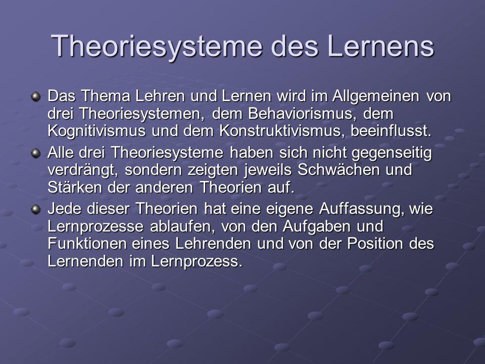 Theoriesysteme des Lernens Das Thema Lehren und Lernen wird im Allgemeinen von drei Theoriesystemen, dem Behaviorismus, dem Kognitivismus und dem Konstruktivismus, beeinflusst.