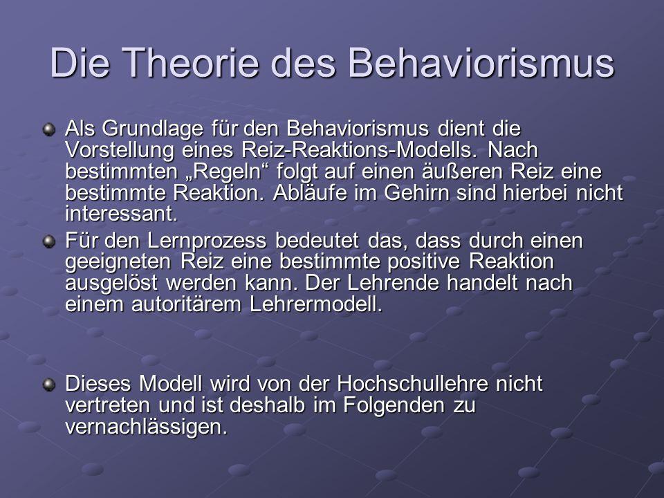 Die Theorie des Behaviorismus Als Grundlage für den Behaviorismus dient die Vorstellung eines Reiz-Reaktions-Modells.