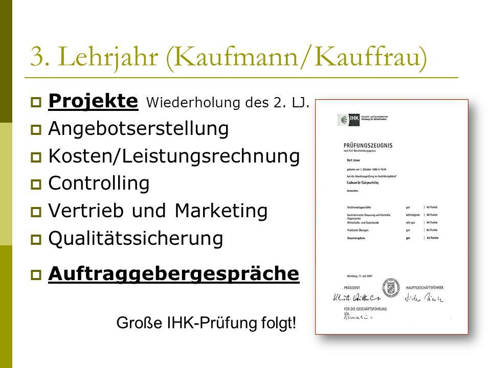 3. Lehrjahr (Kaufmann/Kauffrau)  Projekte Wiederholung des 2. LJ.  Angebotserstellung  Kosten/Leistungsrechnung  Controlling  Vertrieb und Market