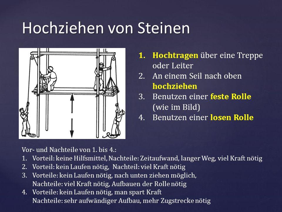 { Hochziehen von Steinen 1.Hochtragen über eine Treppe oder Leiter 2.An einem Seil nach oben hochziehen 3.Benutzen einer feste Rolle (wie im Bild) 4.B