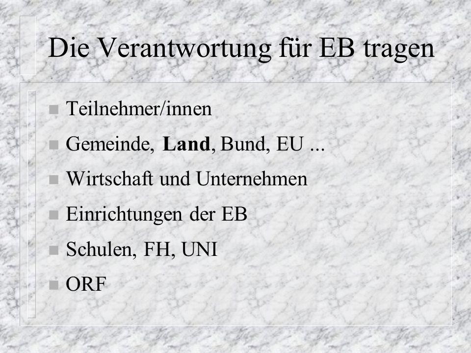 Die Verantwortung für EB tragen n Teilnehmer/innen n Gemeinde, Land, Bund, EU...
