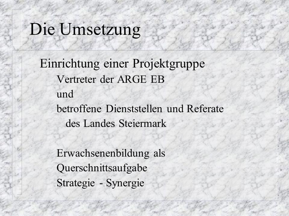 Die Umsetzung Einrichtung einer Projektgruppe Vertreter der ARGE EB und betroffene Dienststellen und Referate des Landes Steiermark Erwachsenenbildung als Querschnittsaufgabe Strategie - Synergie