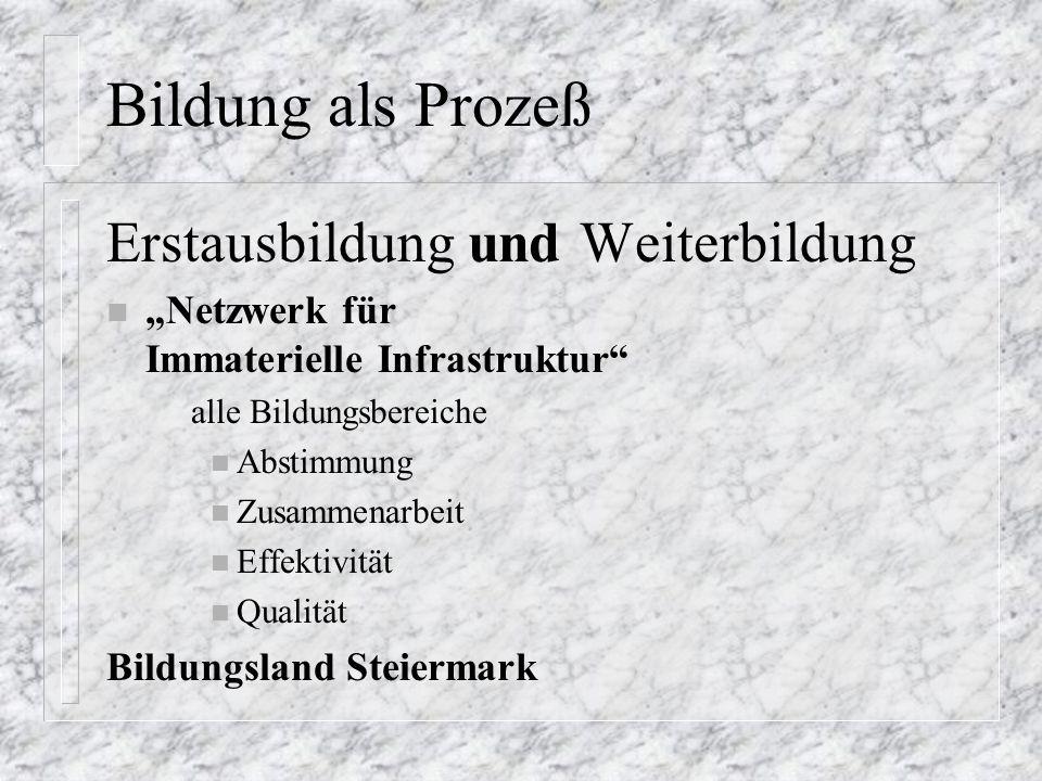 """Bildung als Prozeß Erstausbildung und Weiterbildung n """"Netzwerk für Immaterielle Infrastruktur alle Bildungsbereiche n Abstimmung n Zusammenarbeit n Effektivität n Qualität Bildungsland Steiermark"""