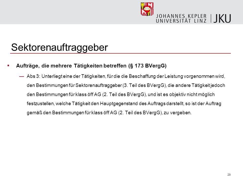 30 Sektorenauftraggeber  Freistellung vom Anwendungsbereich (§ 179 BVergG) —Vergabeverfahren von Sektorenauftraggebern fallen nicht unter das BVergG, wenn diese Tätigkeit in Österreich auf einem Markt mit freiem Zugang unmittelbar dem Wettbewerb ausgesetzt ist und dies durch eine Entscheidung der Kommission festgestellt wurde.