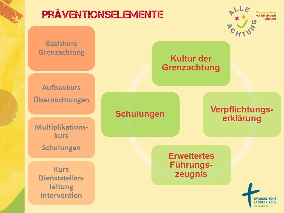 Präventionselemente Basiskurs Grenzachtung Aufbaukurs Übernachtungen Multiplikations- kurs Schulungen Kurs Dienststellen- leitung Intervention Kultur