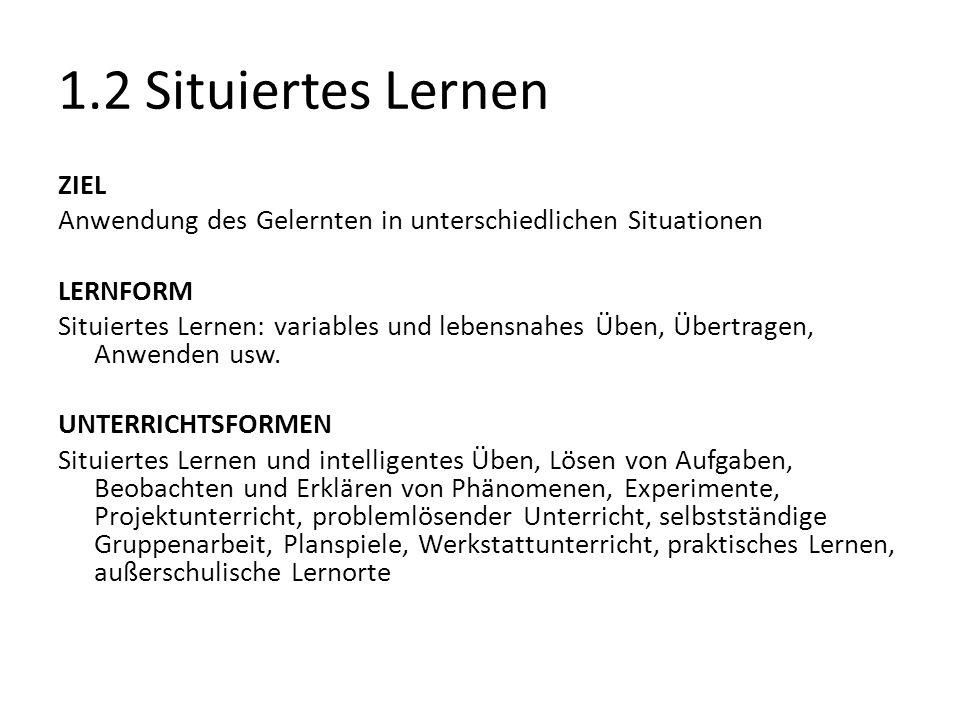 1.2 Situiertes Lernen ZIEL Anwendung des Gelernten in unterschiedlichen Situationen LERNFORM Situiertes Lernen: variables und lebensnahes Üben, Übertr