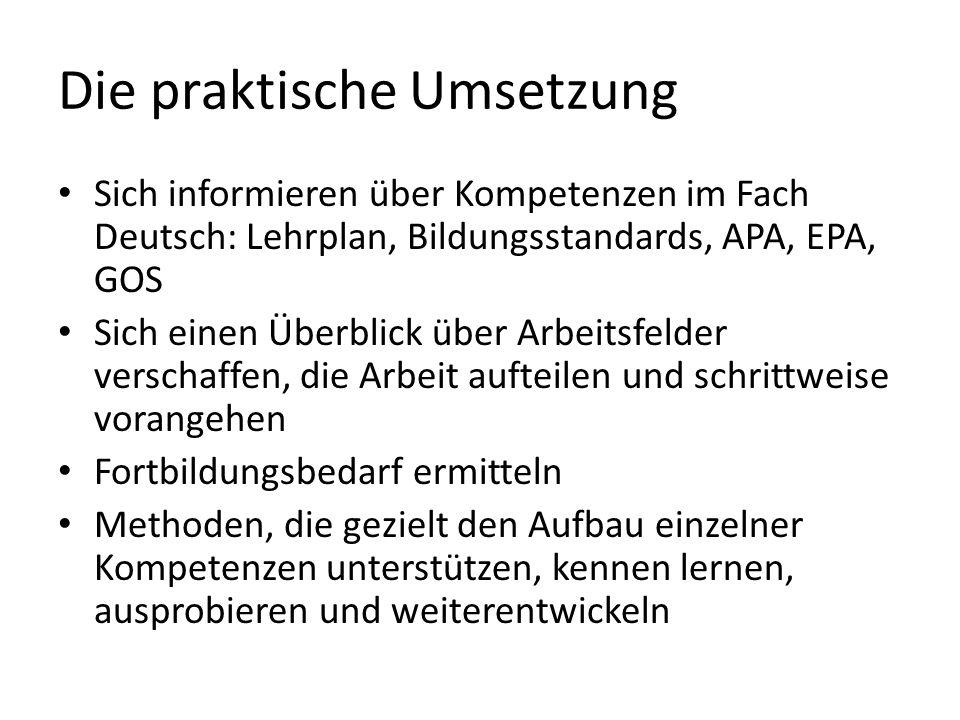 Die praktische Umsetzung Sich informieren über Kompetenzen im Fach Deutsch: Lehrplan, Bildungsstandards, APA, EPA, GOS Sich einen Überblick über Arbei