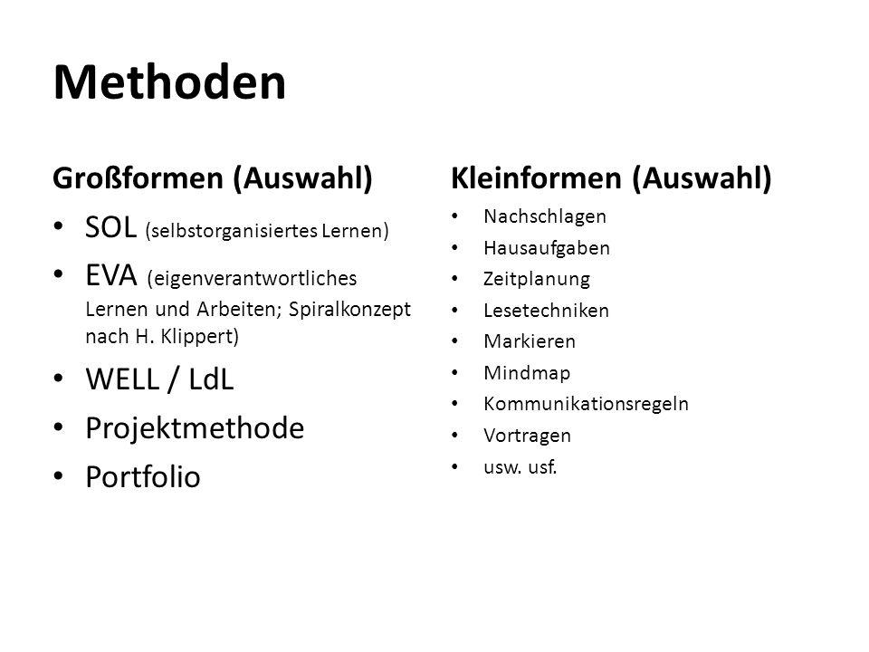 Methoden Großformen (Auswahl) SOL (selbstorganisiertes Lernen) EVA (eigenverantwortliches Lernen und Arbeiten; Spiralkonzept nach H. Klippert) WELL /
