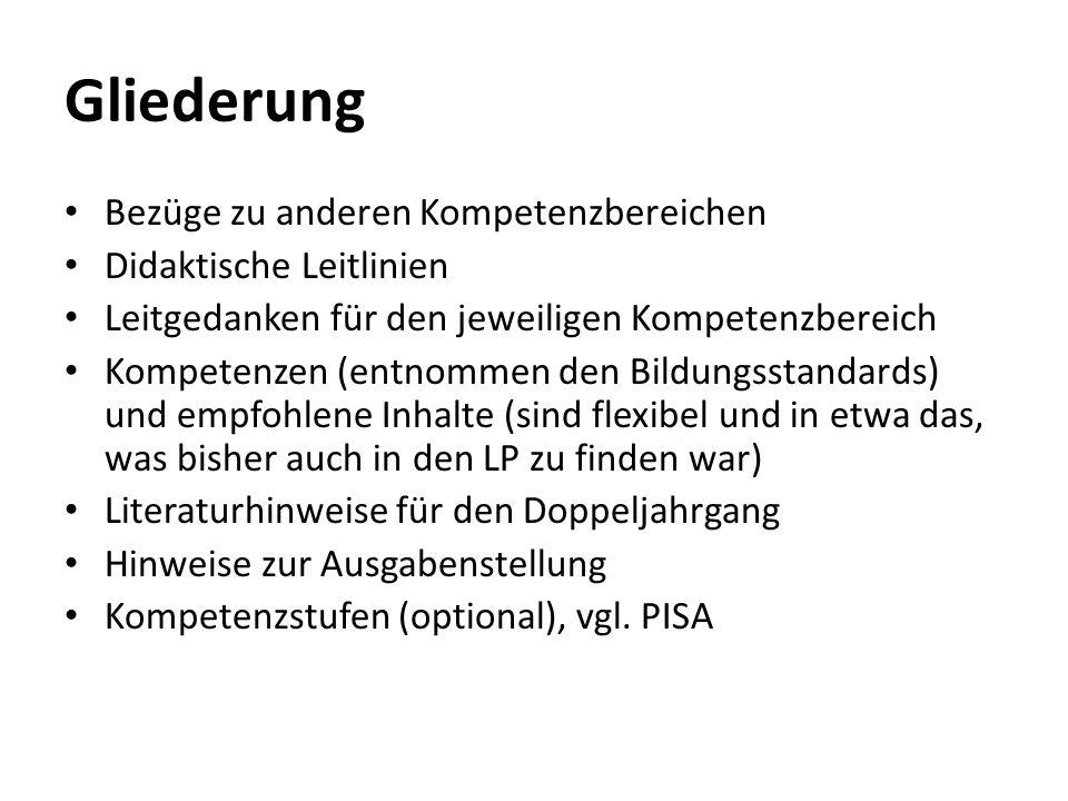 Gliederung Bezüge zu anderen Kompetenzbereichen Didaktische Leitlinien Leitgedanken für den jeweiligen Kompetenzbereich Kompetenzen (entnommen den Bil