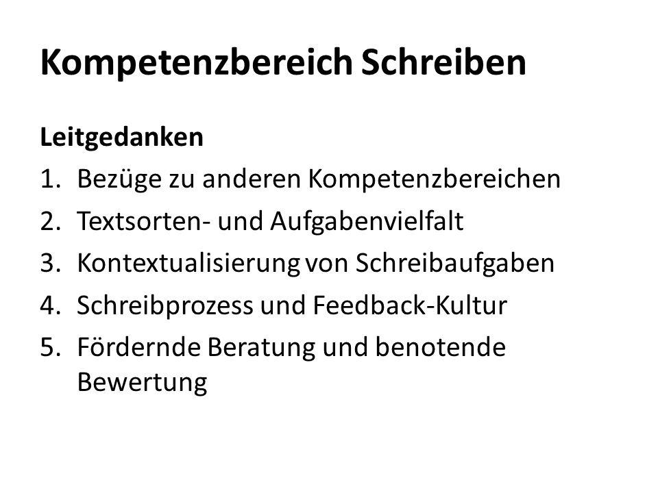 Kompetenzbereich Schreiben Leitgedanken 1.Bezüge zu anderen Kompetenzbereichen 2.Textsorten- und Aufgabenvielfalt 3.Kontextualisierung von Schreibaufg