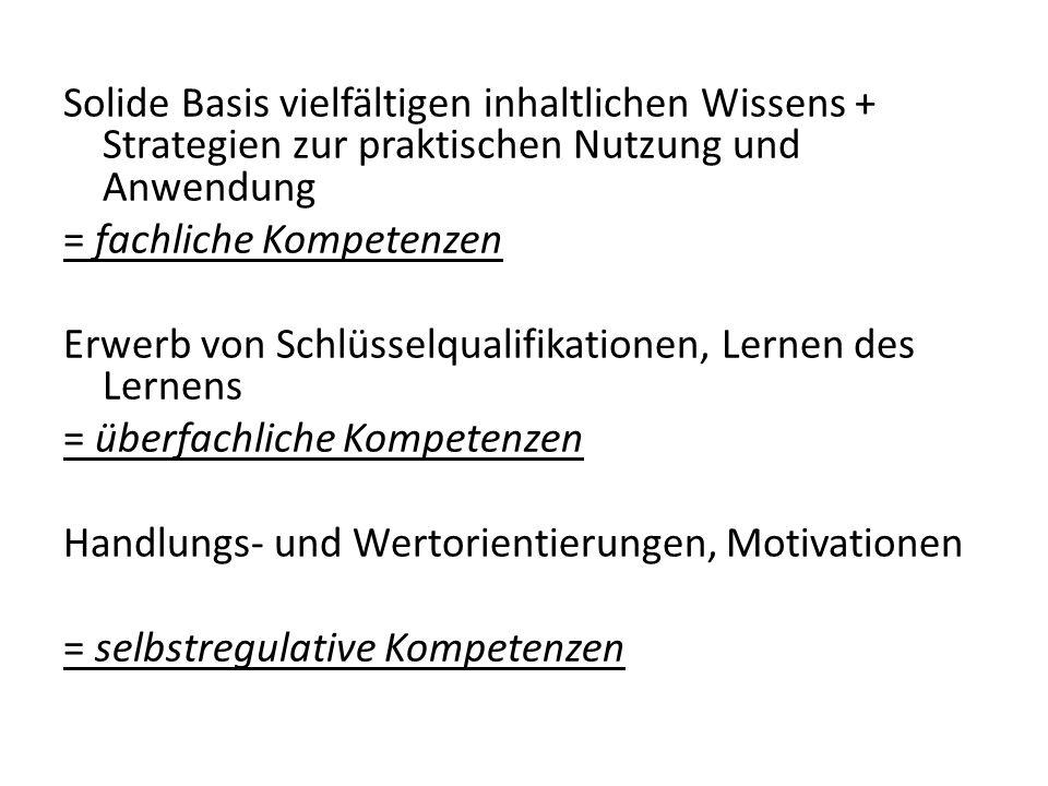 Solide Basis vielfältigen inhaltlichen Wissens + Strategien zur praktischen Nutzung und Anwendung = fachliche Kompetenzen Erwerb von Schlüsselqualifik