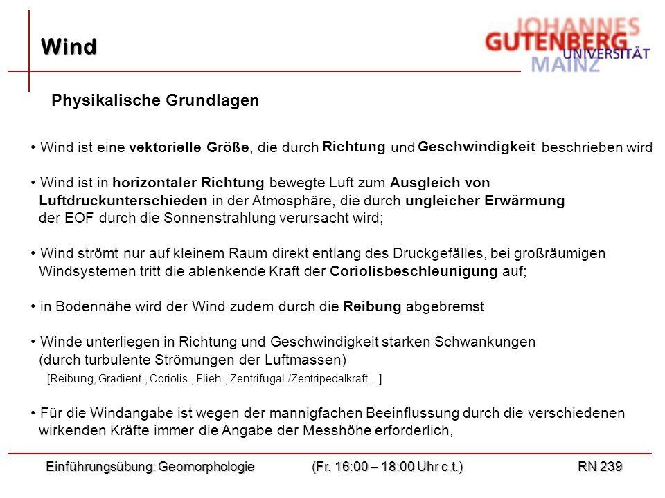 "Föhn = ""warmer Fallwind des nördlichen Alpenvorlandes Bora = ""kalter Fallwind des südlichen Alpenvorlandes Einführungsübung: Geomorphologie(Fr."