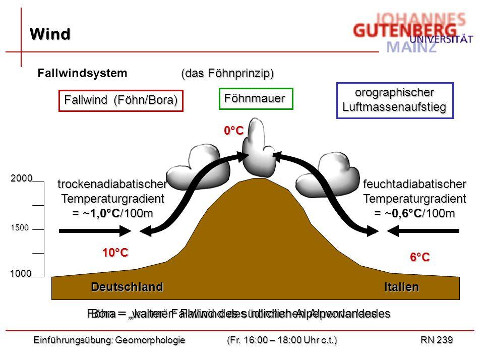"Föhn = ""warmer"" Fallwind des nördlichen Alpenvorlandes Bora = ""kalter"" Fallwind des südlichen Alpenvorlandes Einführungsübung: Geomorphologie(Fr. 16:0"