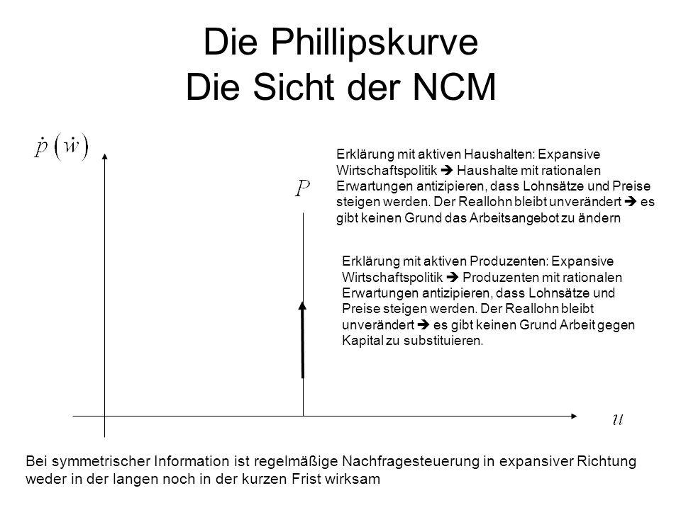 Die Phillipskurve Die Sicht der NCM Erklärung mit aktiven Haushalten: Expansive Wirtschaftspolitik  Haushalte mit rationalen Erwartungen antizipieren, dass Lohnsätze und Preise steigen werden.