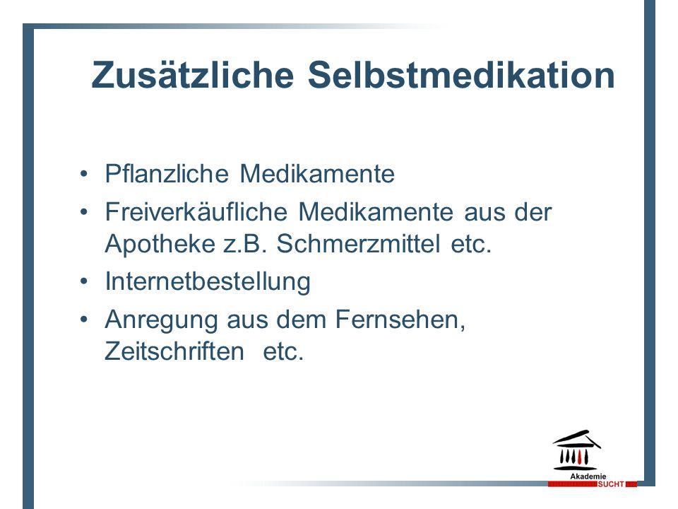 Zusätzliche Selbstmedikation Pflanzliche Medikamente Freiverkäufliche Medikamente aus der Apotheke z.B. Schmerzmittel etc. Internetbestellung Anregung