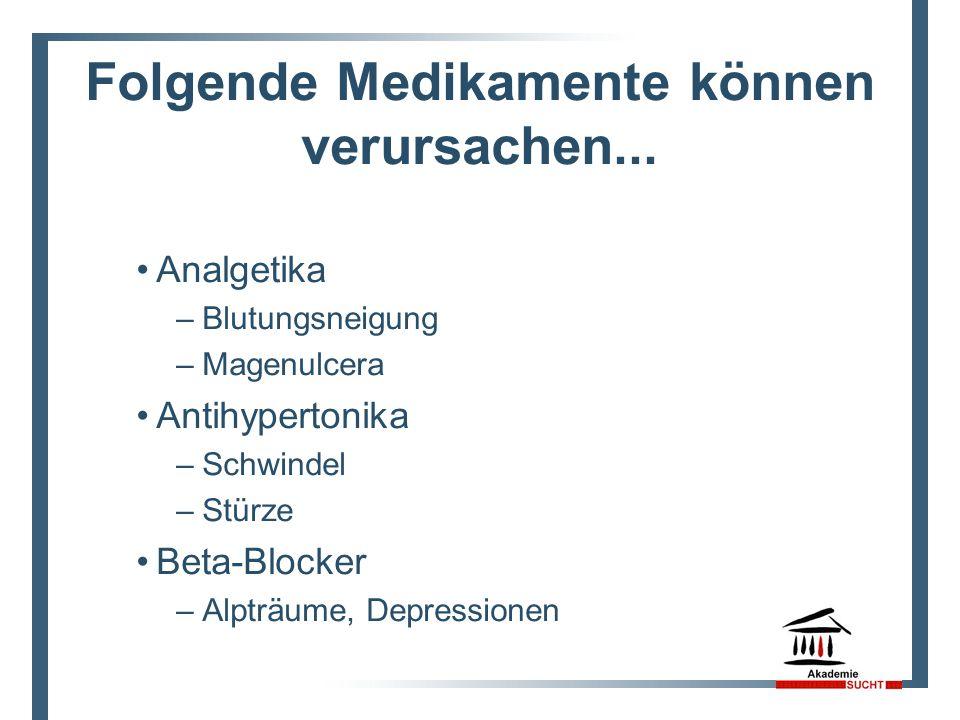 Folgende Medikamente können verursachen... Analgetika –Blutungsneigung –Magenulcera Antihypertonika –Schwindel –Stürze Beta-Blocker –Alpträume, Depres