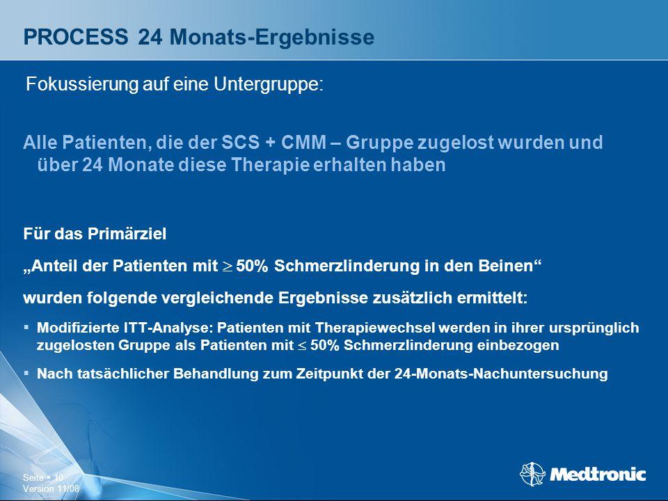 Seite  10 Version 11/08 PROCESS 24 Monats-Ergebnisse Alle Patienten, die der SCS + CMM – Gruppe zugelost wurden und über 24 Monate diese Therapie erh