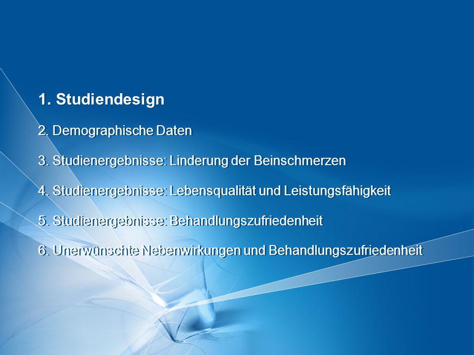 Seite  2 Version 11/08 1. Studiendesign 2. Demographische Daten 3. Studienergebnisse: Linderung der Beinschmerzen 4. Studienergebnisse: Lebensqualitä