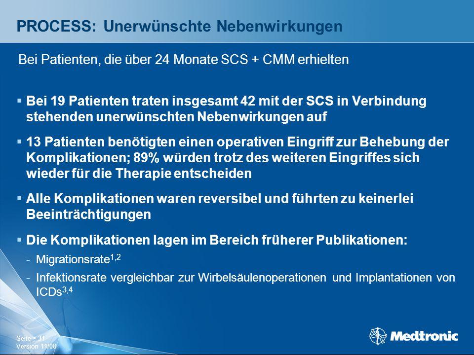 Seite  31 Version 11/08 PROCESS: Unerwünschte Nebenwirkungen  Bei 19 Patienten traten insgesamt 42 mit der SCS in Verbindung stehenden unerwünschten