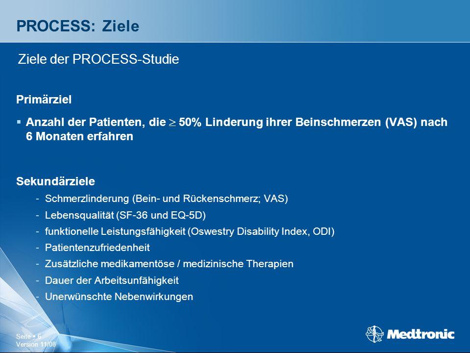 Seite  6 Version 11/08 PROCESS: Ziele Primärziel  Anzahl der Patienten, die  50% Linderung ihrer Beinschmerzen (VAS) nach 6 Monaten erfahren Sekund