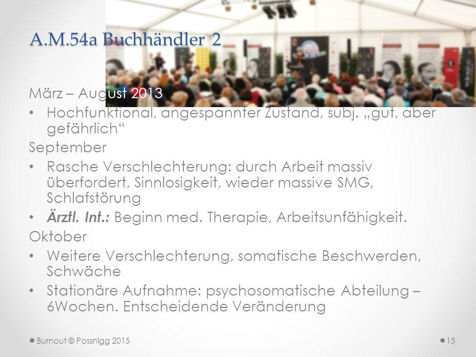 """A.M.54a Buchhändler 2 März – August 2013 Hochfunktional, angespannter Zustand, subj. """"gut, aber gefährlich"""" September Rasche Verschlechterung: durch A"""