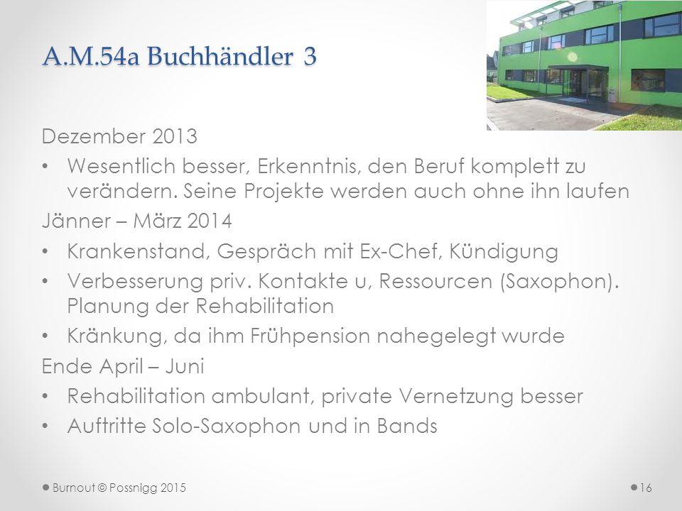 A.M.54a Buchhändler 3 Dezember 2013 Wesentlich besser, Erkenntnis, den Beruf komplett zu verändern. Seine Projekte werden auch ohne ihn laufen Jänner